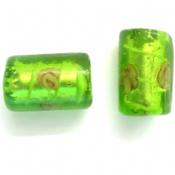 10 Silver foil 16mm Green Tube Lampwork glass beads